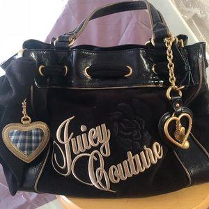 JUICY COUTURE HANDBAG, black suede, with mirror